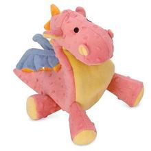 goDog Dragons Tough Plush Dog Toy - Coral
