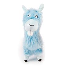 goDog Bucktooth Hairy Llama Plush Dog Toy - Blue
