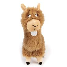 goDog Bucktooth Hairy Llama Plush Dog Toy - Tan
