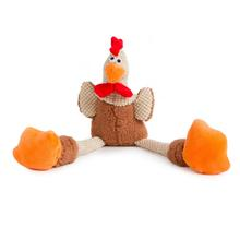 goDog Checkers Skinny Rooster Tough Plush Dog Toy - Brown