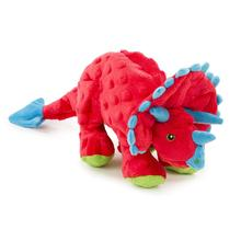goDog Dinos Chew Guard Frills Triceratops Dog Toy - Red