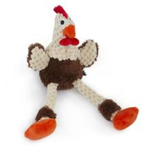 goDog Just for Me Checkers Skinny Rooster Plush Dog Toy - Brown