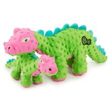 goDog Dino Spike Dog Toy with Chew Guard - Green and Pink