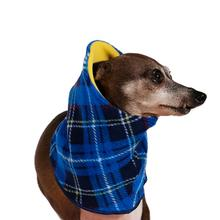 Gold Paw Dog Snood - Blue Plaid/Sunflower Yellow