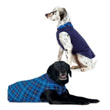 Gold Paw Reversible Double Fleece Dog Jacket - Blue Plaid/Navy