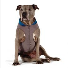 Gold Paw Reversible Double Fleece Dog Jacket - Charcoal/Marine Blue