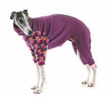 Gold Paw Stretch Fleece Dog Onesie - Eggplant and Summer Mod