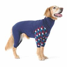 Gold Paw Stretch Fleece Dog Onesie - Navy and Winter Mod