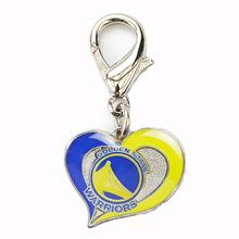 Golden State Warriors Swirl Heart Dog Collar Charm