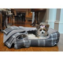 Gray Plaid Dog Bed with Bone and Blanket by Doggie Design