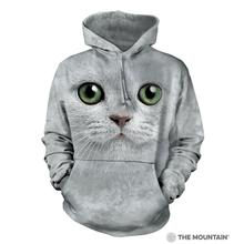 Green Eyed Cat Face Human Hoodie by The Mountain