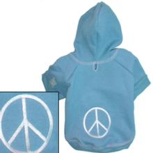 Groovy Peace Sign Dog Hoodie - Blue