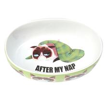 Grumpy Cat After My Nap Oval Cat Bowl - Green