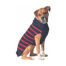 Handmade Alpaca Classic Stripe Dog Sweater - Navy and Red