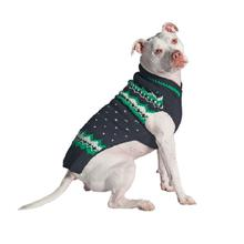 Handmade Alpine Fair Isle Wool Dog Sweater - Navy and Green
