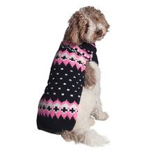 Handmade Alpine Fair Isle Wool Dog Sweater - Navy and Pink