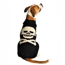 Handmade Black Skull Wool Dog Sweater