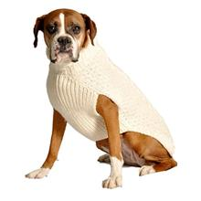 Handmade Cable Knit Wool Dog Sweater - Natural