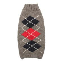 Handmade Classic Argyle Wool Dog Sweater - Gray