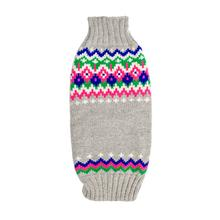 Handmade Fairisle Wool Dog Sweater - Light Gray