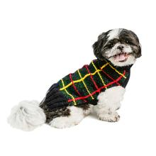 Handmade Plaid Wool Dog Sweater - Navy Tartan