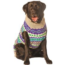 Handmade Fairisle Wool Dog Sweater - Purple