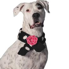 Handmade Flower Polkadot Wool Dog Scarf