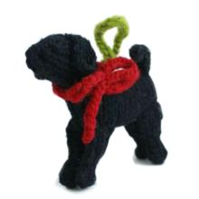 Handmade Knit Tree Dog Ornament - Black Lab