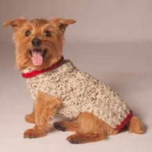 Handmade Oatmeal w/Red Trim Cable Knit Dog Sweater