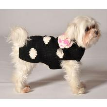 Handmade Polka Dot Wool Dog Sweater - Black
