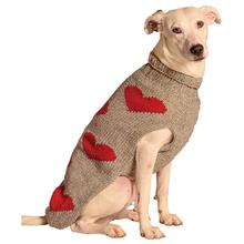 Handmade Red Hearts Wool Dog Sweater - Gray