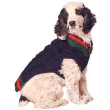 Handmade Varsity Wool Dog Sweater - Navy
