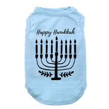 Happy Hanukkah Dog Shirt - Light Blue
