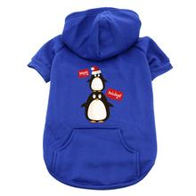 Happy Holidays Penguins Dog Hoodie - Blue