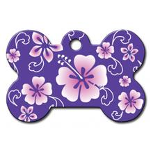 Hawaiian Bone Large Engraveable Pet I.D. Tag - Purple