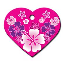 Hawaiian Heart Large Engravable Pet I.D. Tag - Pink