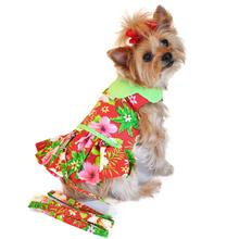 Red Hawaiian Hibiscus Designer Dog Harness Dress by Doggie Design