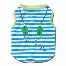 Headphones Striped Dog T-Shirt - Blue/Lime