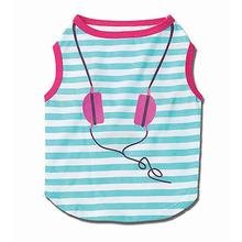 Headphones Striped Dog T-Shirt - Teal/Pink