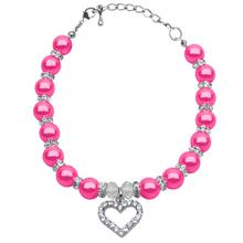 Heart and Pearl Dog Necklace - Bright Pink