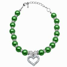Heart and Pearl Dog Necklace - Lime Green