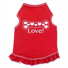 Hearts Bone Dog Dress - Red