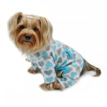 Hearts Turtleneck Fleece Dog Pajamas by Klippo - Blue and Gray