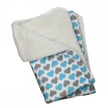 Hearts Ultra-Plush Dog Blanket by Klippo - Blue and Gray