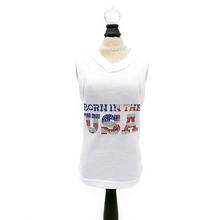 Hello Doggie Born in the USA Dog Tank - White