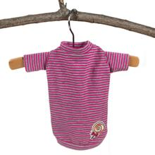 Hello Doggie Candy Striped Dog Shirt - Fuchsia
