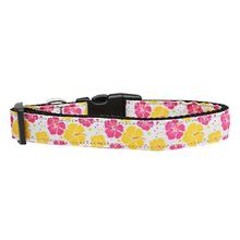 Hibiscus Flower Dog Collar - Pink and Yellow