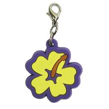 Hibiscus Soft Rubber Dog Collar Charm - Yellow/Purple
