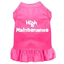High Maintenance Screen Print Dog Dress - Bright Pink