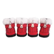 Hiker Dog Boots with Faux Fur Trim - Red